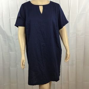 Ellos Dress Navy Size 18 Linen Blend Short Sleeve